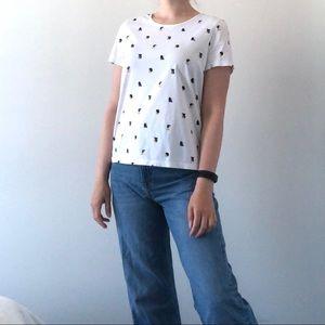 White novelty print t-shirt portraits profiles S
